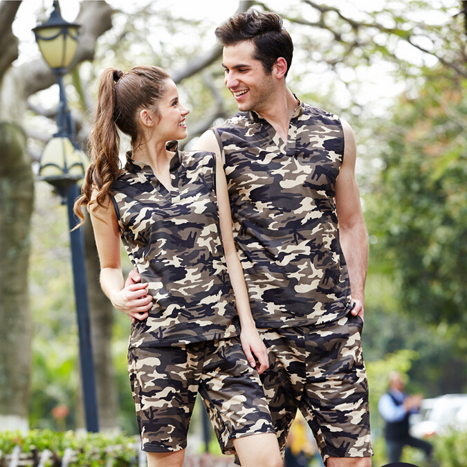 New 2015 Urban Style Hot Summer Men's Sets Camoflage T-shirt +Shorts Set Unisex For Lovers Couple Sport Suit Running Walk 75 19(China (Mainland))