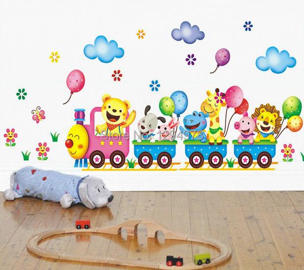 Wall Stickers Cartoon Cute Animals Train Balloon Kids Bedroom
