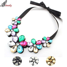 Freeshipping 2015 Hot Selling Women 4 Colors Flower Necklace Charm Rhinestone Necklace And Pendant Gift(China (Mainland))