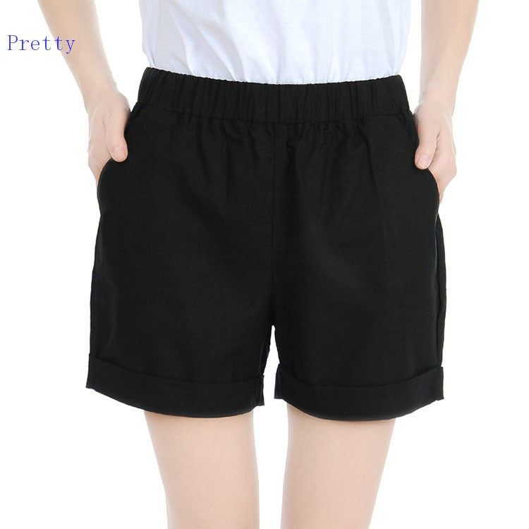 2015 New Fashion Elastic Waist Women Casual Shorts Fashion High Waisted Summer Shorts Woman 8 ...
