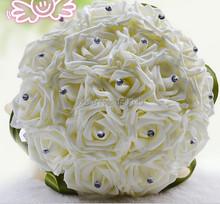 Schöne Hochzeit Bouquet braut, brautjungfer blume brautstrauss künstliche blume rose bouquet weiß brautsträuße(China (Mainland))