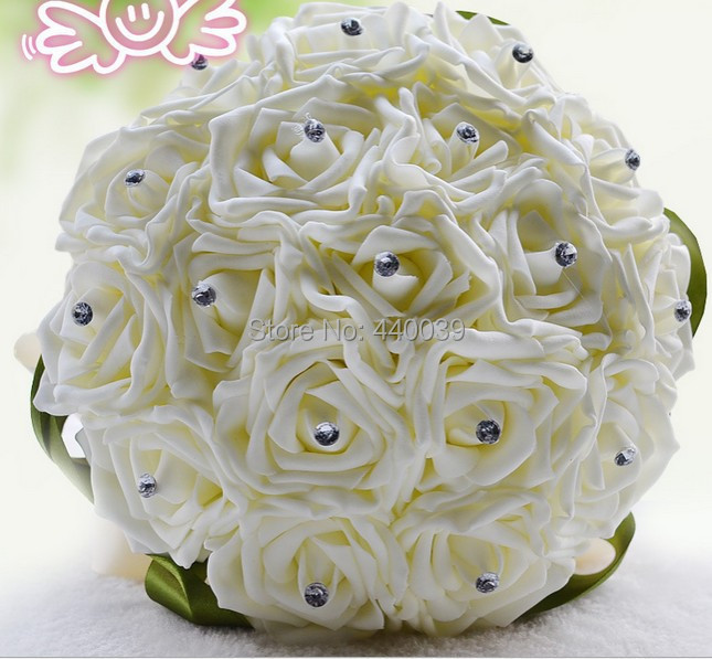 Beautiful Wedding Bouquet Bridal Bridesmaid Flower wedding bouquet artificial flower rose bouquet white bridal bouquets(China (Mainland))