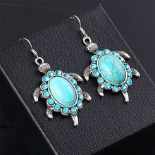 2016 NEW 1Pair Brand Turquoise Turtle Dangle Drop Earrings Fashion Charms Pendants Fine Jewelry For Women Long Big 4x3cm(China (Mainland))