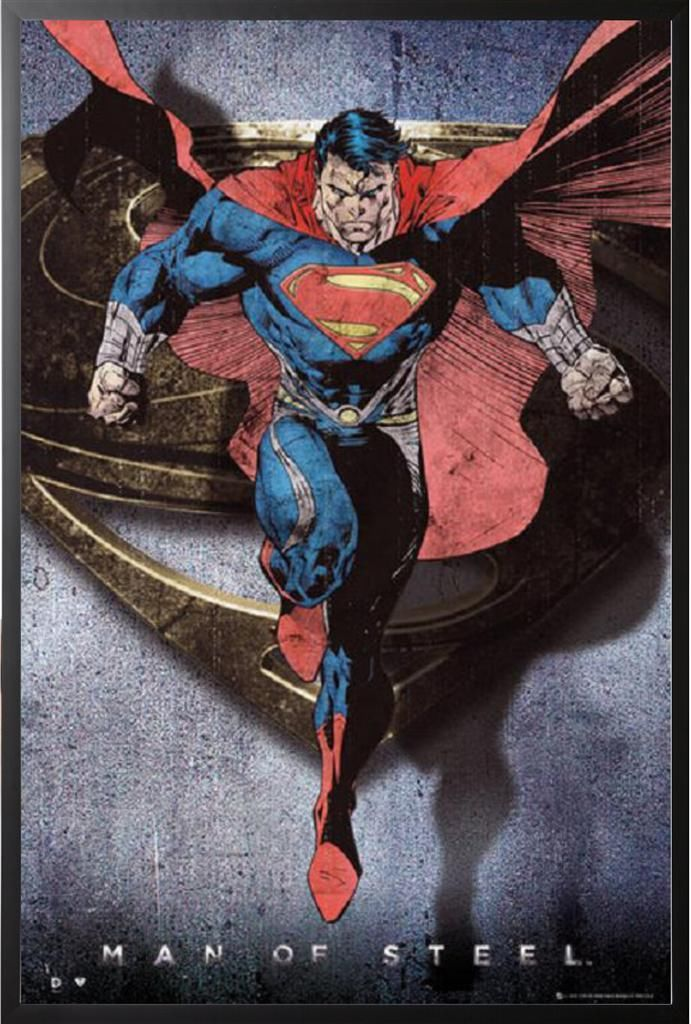 Superman Comic Man of Steel Flying Poster Dry Mounted in Black Wood Frame 24x36 wall sticker decor(China (Mainland))