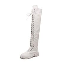 Fujin/Новые ботфорты выше колена женская обувь зимние эластичные сапоги со шнуровкой теплые сапоги на высоком каблуке длинная обувь теплая об...(China)