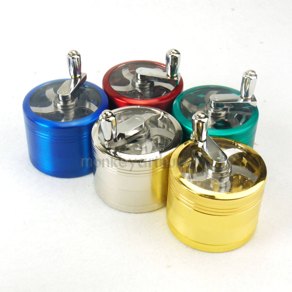"New One PCS Herb Tobacco Spice Crusher 2.5"" Handle Mill Grinder Metal Storage 4 Part(China (Mainland))"
