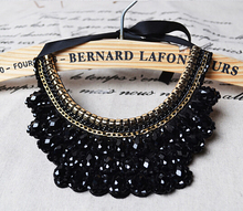 New Arrival Handmade False Collar Necklace Black Crystal Beads Women Charm Choker Necklace Accessories Trendy Jewelry