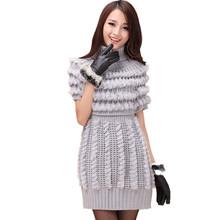 ZDFURS * knitted rex rabbit fur jacket sweater fur coat  knitted turtleneck medium-long slim fur vest(China (Mainland))