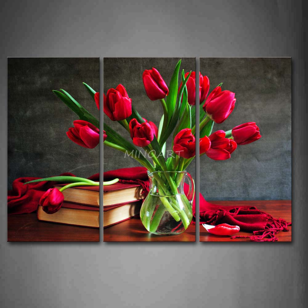Wall Art Red Flower : Piece wall art painting red flowers books and cloth