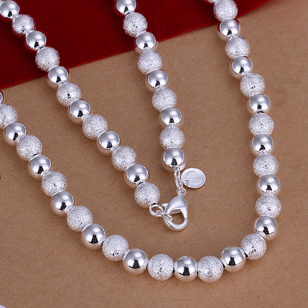 Promotion price Fashion Jewelry 925 silver gilr 8mm Beads chain Necklace Wholesale 925 silver Jewelry Christmas