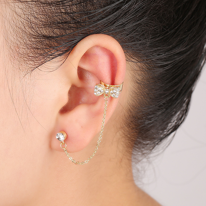 Top Quality Hot Sale! Crystal Earrings Delicate bow ear clip Left Ear Cuffs Wrapped Ear Bones Clip Earrings for women(China (Mainland))