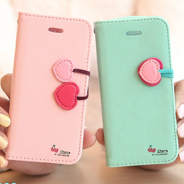 i6 4.7Plus Girl Cute Cherry PU Leather Flip Case iPhone 6 6S Plus Fashion Stand Wallet Holster Phone Cover - Three-A Group Co.,Ltd store