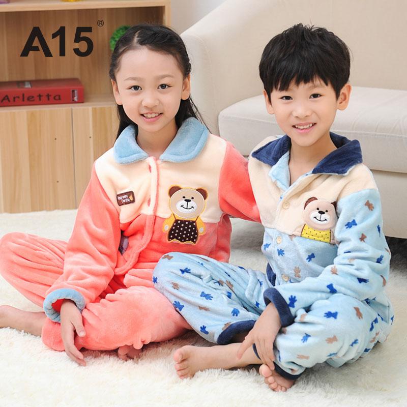 Hot Sale Girls Christmas Pajamas 2 pcs Set Size 8 10 12Y Baby Boys Cartoon Brand Warm Winter Fleece Clothing Sets Kids Sleepwear(China (Mainland))