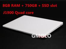 8GB RAM + 750GB HDD + SSD 14inch ultrabook notebook J1900 Quad core Windows system laptop computer(China (Mainland))