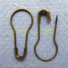 Free Shipping Bronze Pear Shaped Pins in steel, anti-brass safety pin, Fashion Colored gourd hang tag pins antique brass colour(China (Mainland))