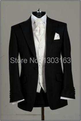 2014 Suits Custom Made Black Groom Tuxedos Peak Lapel Best Man Groomsmen Men Wedding Suits Bridegroom (Jacket+Pants+Tie+Vest)