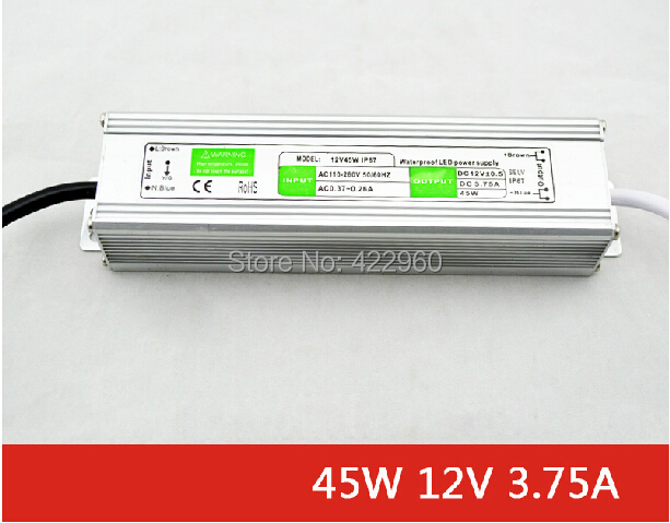 wholesale 12V 3.75A waterproof IP 67 transformers, 45W outdoor aluminum shell voltage converter transformer(China (Mainland))