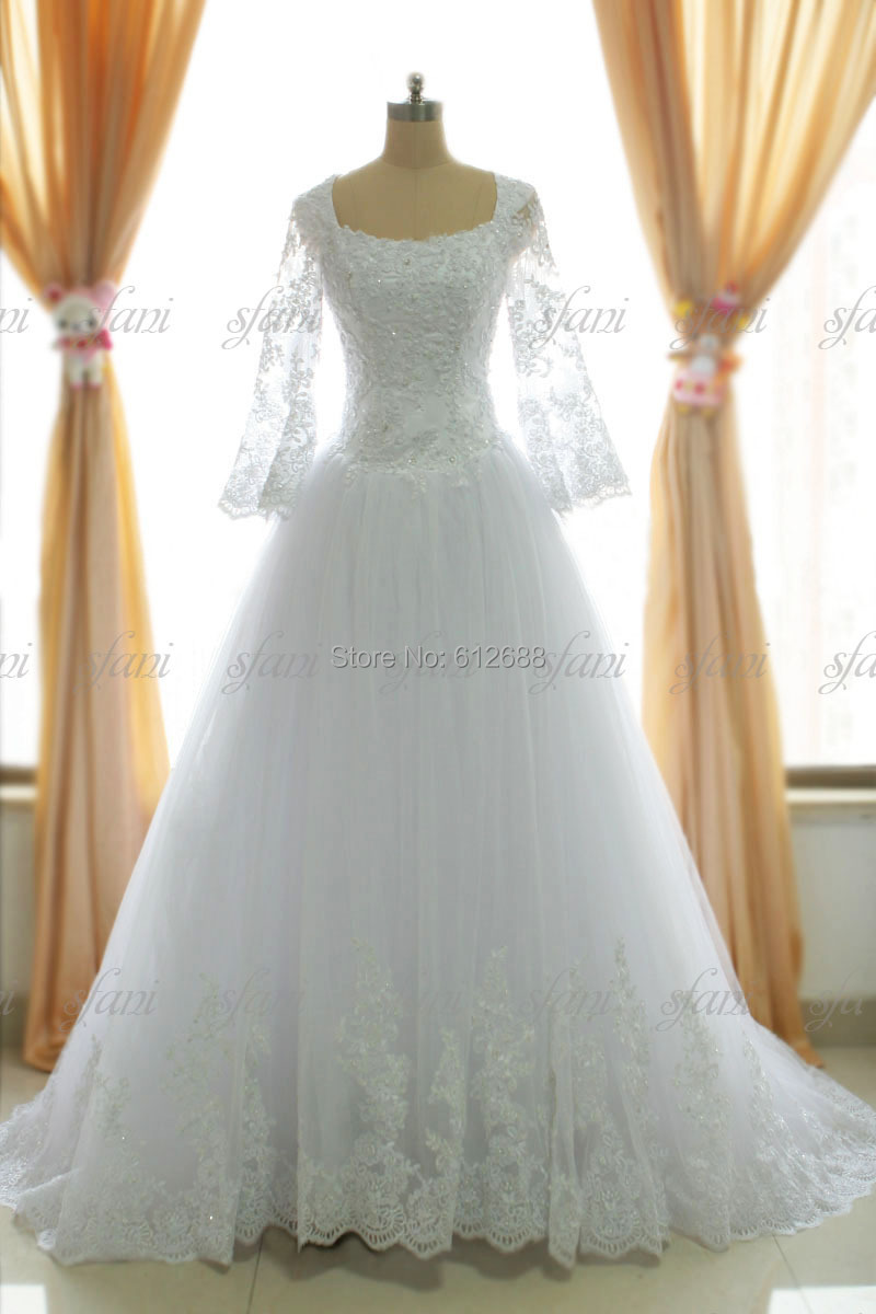 2015 Gorgeous Ball Gown Wedding Lace Full Sleeves Beading Floor Length Long Chapel Train Dresses real picture - holy love store