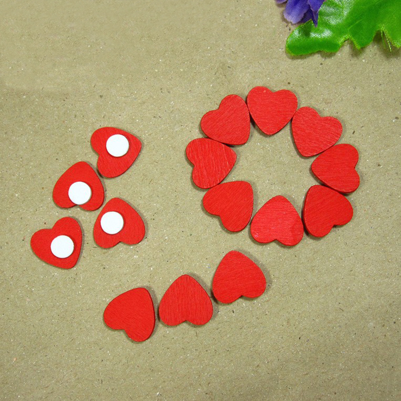 10pcs/lot wood pelletizing system with little red hearts magnetic stickers Sponge sticker decorative accessories #49719(China (Mainland))