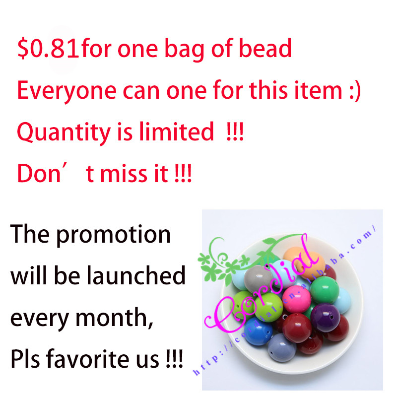 $0.81 !!! Sales Promotion For 20MM 100Pcs/Lot Mix Color Acrylic Bead For Handmade Jewelry(China (Mainland))