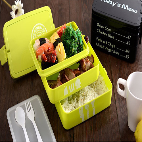 Fashion two-layer Microwave lunch box/container with handle eco-friendly lunchbox  bento container for food Fast Shipping(China (Mainland))