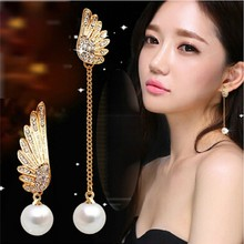 New Women Fashion Jewelry 1 pair Long Big Round Peal Rhinestone Dangle Earring Gold Plated Wings Earrings For Lady Women(China (Mainland))