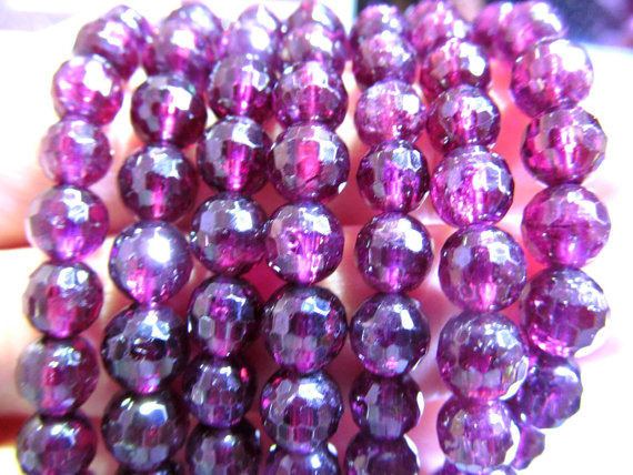 AAA grade 6-10mm 8inch genuine garnet rhodolite beads round ball faceted rose red jewelry beads bracelete<br><br>Aliexpress