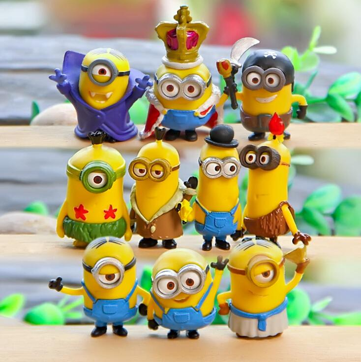 Despicable Me 2&3 10PCS/set Minions action Figures 3D eye Toys PVC doll Decoration Brinquedos Star wars Kids Toy Gift 0567(China (Mainland))