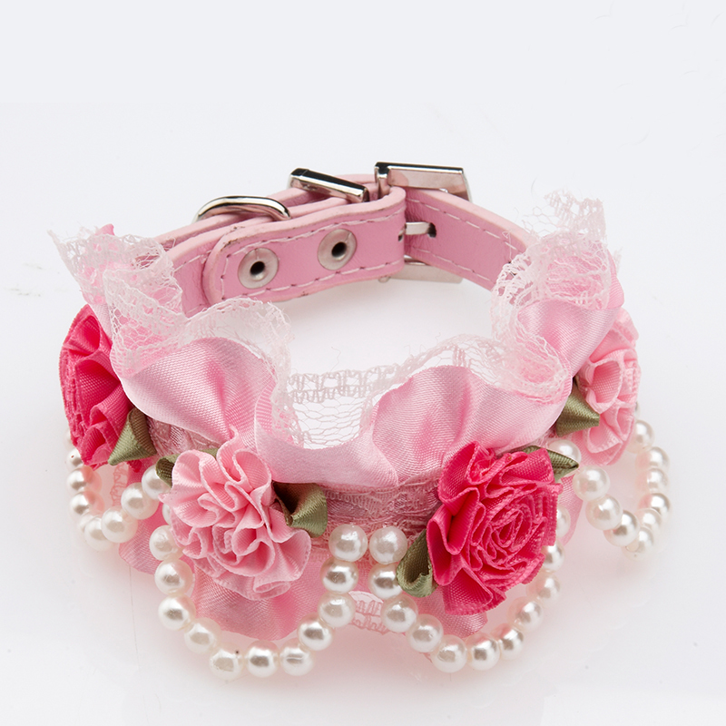 2016 Leather Puppy Dog Cat Collar Rose Flower Pearls Necklace Crystal Rhinestone Buckle Pet Wedding Collar - Pink White Black(China (Mainland))