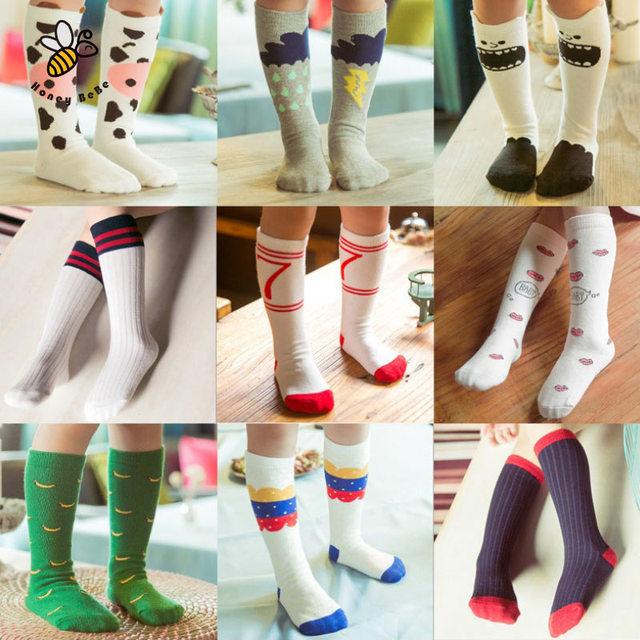 Милые детские носки хлопка девушка носки высокий колено малыш загрузки носок мультфильм ...