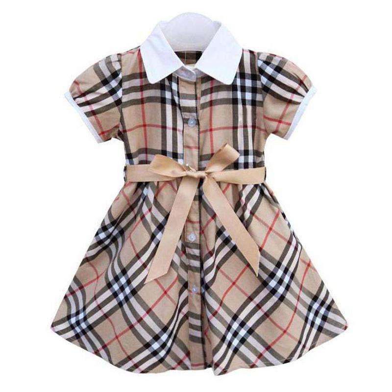 Retail Wholesale Girls Brand Dress 1-9 Summer Baby Girl Dresses bowknot Waist Plaid Printing Petti Kids/Children Princess Dress(China (Mainland))