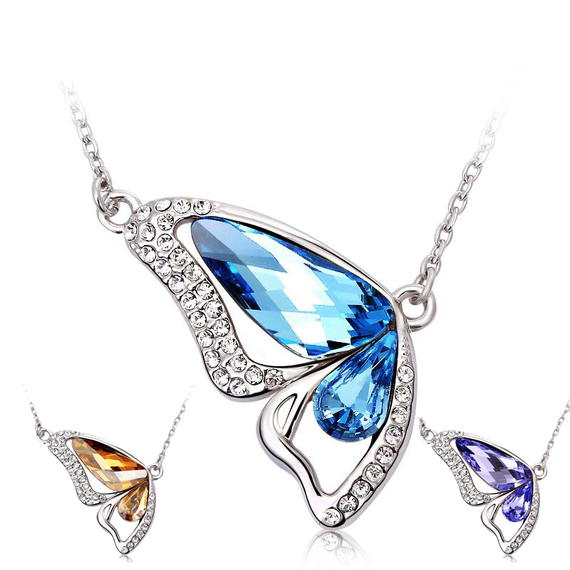 Girls Butterfly Jewelry Crystal Simple Pendants Necklaces Women Fashion Brand Silver Plated Statement Acrylic Wings Necklace(China (Mainland))