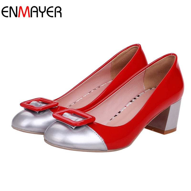 Red Green White 2016 New Fashion Lovely Pink White Women Pumps Thick Heel Party Prom Shoes Round Toe High Heeled Wedding Shoes(China (Mainland))
