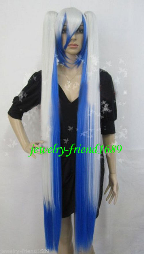Wholesale heat resistant LY free shipping New font b wig b font long cosplay vocaloid blue