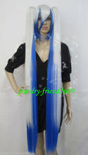 Wholesale& heat resistant LY free shipping>>New wig long cosplay vocaloid blue white Mixed split type wigs