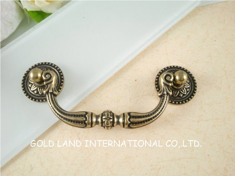 95mm Free shipping bronze-colored zinc alloy antique drawer handle<br>