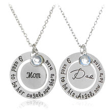 Creative personality Dad & Mon lettering necklace gift For Women Men High Quality Jewelry Festival Family Gifts Free Shipping(China (Mainland))