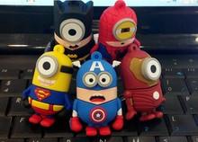 Super hero America captain/Bat man/Iron man minion USB 2.0 Flash Drive/U Disk/Creativo Pendrive/Memory Stick/Disk Gift M23(China (Mainland))