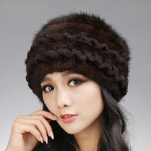 real knitted mink fur hats for women winter laciness Fashion beanie hat cap mink fur The high quality womens beanie fur hat