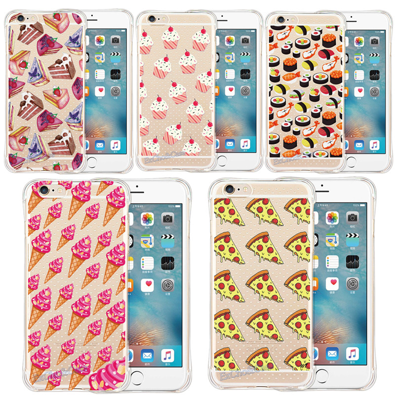 Charming Tasty Cake Pizza Sushi Ice Cream Anti-knock Phone Case For Apple iphone5 5s se 6 6s Plus Fundas Back Skin Soft Shells(China (Mainland))