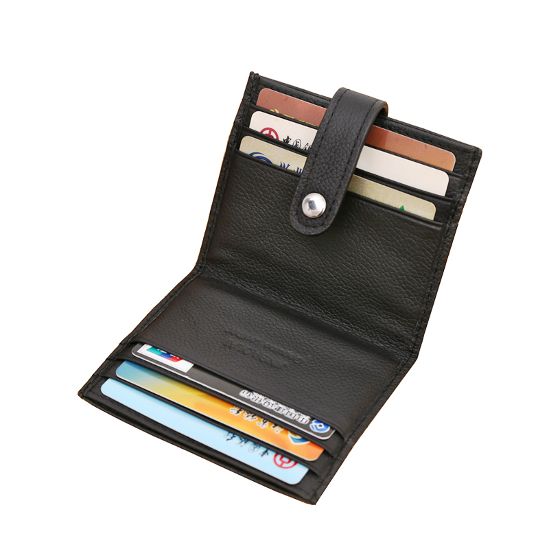 New Hasp Genuine Leather Business ID Cards Holders Black Coffee Solid Credit Card Holder For Unisex Designer Free Shipping(China (Mainland))