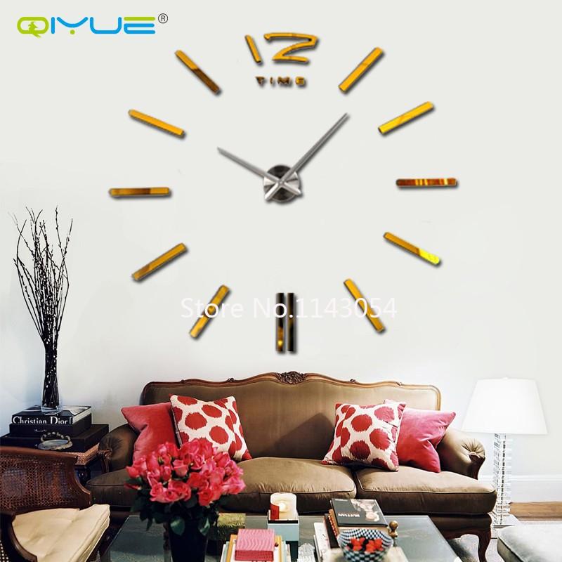 QIYUE 2016NEW Home decorations big wall clock Modern design large decorative designer wall sticker watch wall hours W003GSB(China (Mainland))