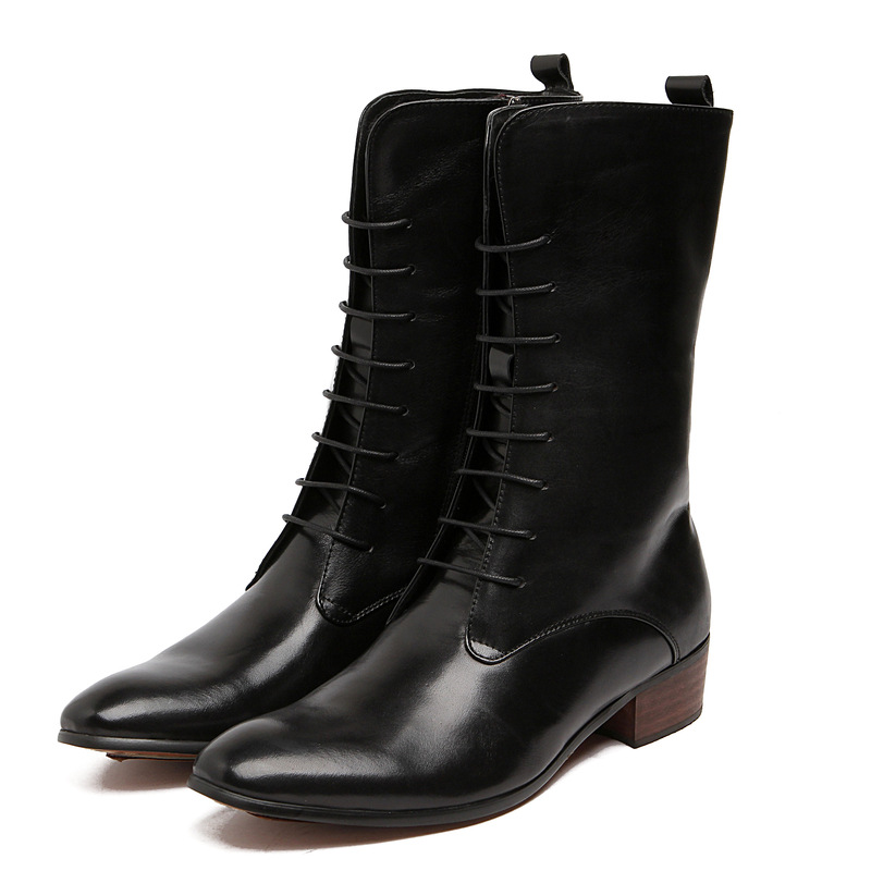 2015 European winter keep warm dress fashion men's genuien leather boots black brown men shoes casual for leisure business bo260(China (Mainland))