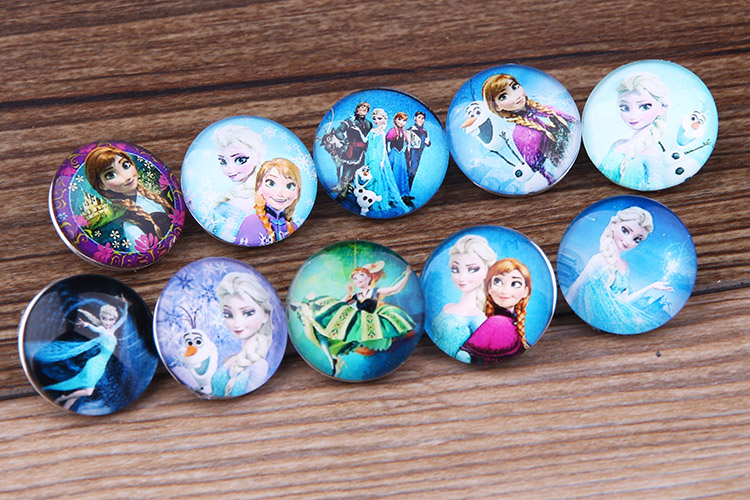 10pcs/lot Wholesale DIY Cartton Snap Jewelry 18mm Elsa & Anna Princess Snap Button Charms Resin Ginger Snap Button For Women(China (Mainland))
