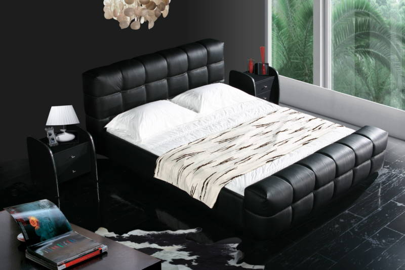 black color real genuine leather bed / soft bed/double bed king size bedroom home furniture modern+ 2 night stand(China (Mainland))