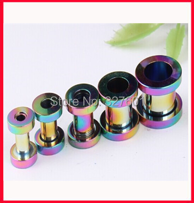 Free shipping,mix 8 size 200 pcs/lot body piercing jewelry stainless steel rainbow flesh tunnel ear plug<br><br>Aliexpress
