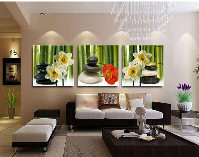 3 Panel Free Shipping Hot Sell Stone Flower Modern Wall Art Bamboo Painting Home Decor Picture
