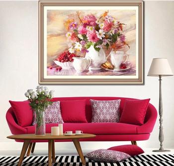 Цветок сезон шаблон поделки алмаз живопись DMC 447 цветов кубик рубика круглый бриллиант вышивка украшения дома рукоделие