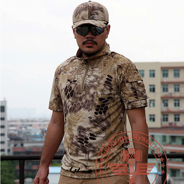 Outdoor camouflage python tattoo t shirts cotton short for Camo sleeve tattoos