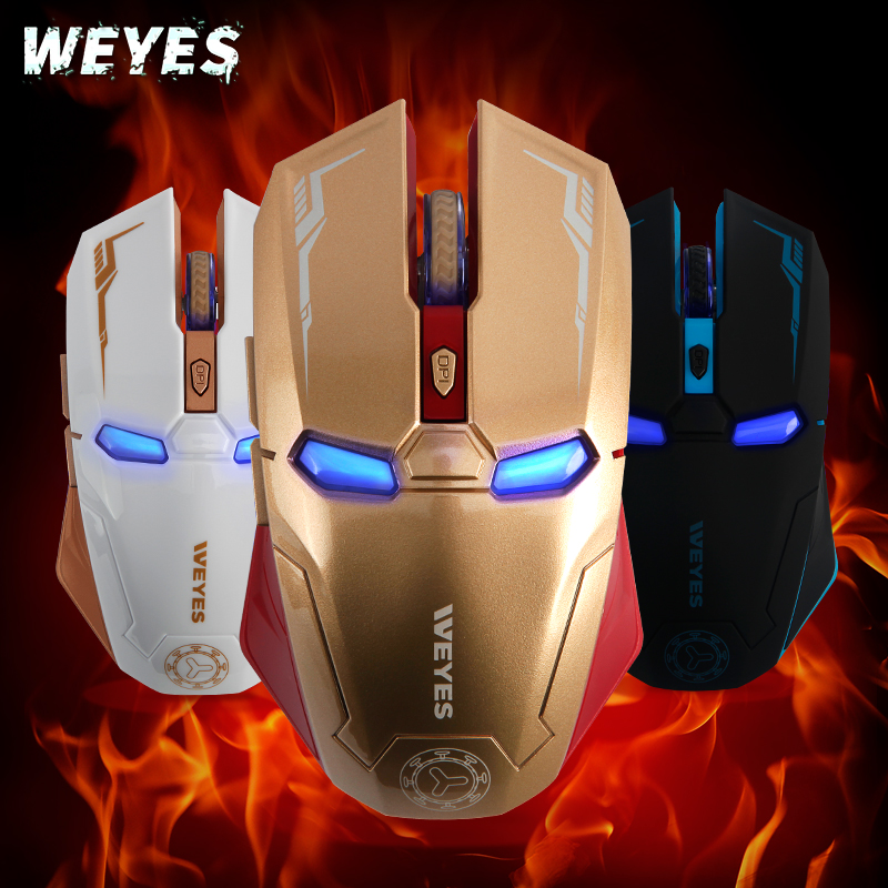 Armor Iron Man Wireless Mouse Inalambrico USB Computer PC Rechargeable Gaming Steelseries Laser Ergonomic Noiseless Mause Weyes(China (Mainland))
